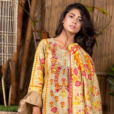 Iraar Embroidered Lawn 3 Piece Un-Stitched Suit - 6A