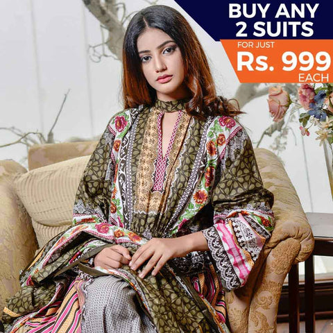 Libas Printed Cotton 3 Piece Un-Stitched Suit - 6B