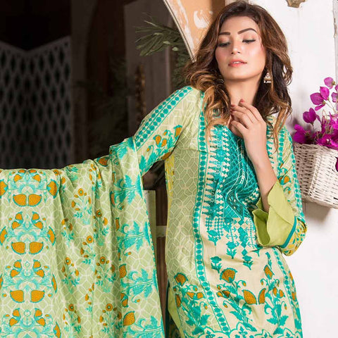 Iraar Embroidered Lawn 3 Piece Un-Stitched Suit - 6B