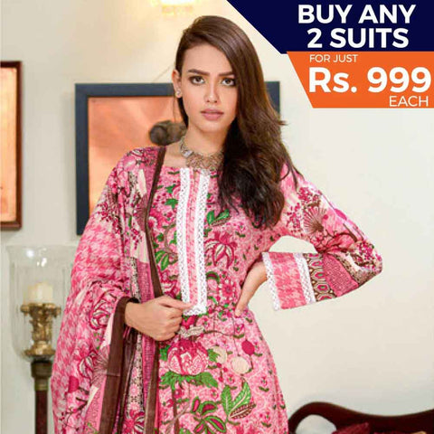 Three Star Printed Cotton 3 Piece Un-Stitched Suit - 6A