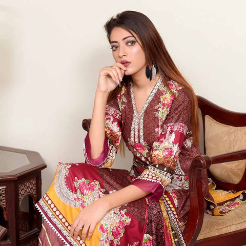 Riwaj Printed Lawn 3 Piece Un-Stitched Suit Vol 1 - 6 B