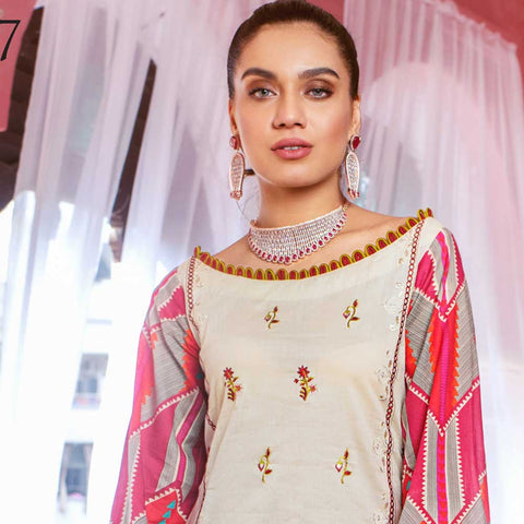 Malkah Embroidered Lawn 3 Piece Un-Stitched Suit - 07