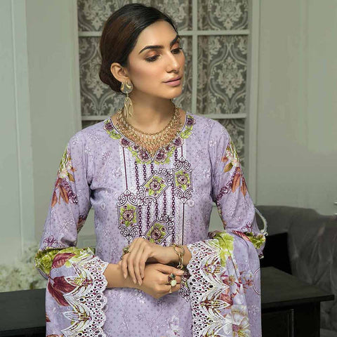Zebtan Embroidered Cotton 3 Pieces Un-Stitched Suit Vol 01 - 07