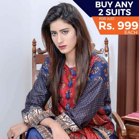 Libas Printed Cotton 3 Piece Un-Stitched Suit - 7A