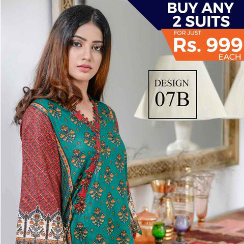 Libas Printed Cotton 3 Piece Un-Stitched Suit - 7B