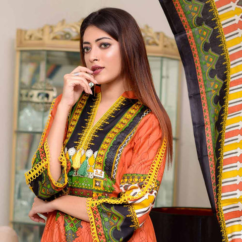 Riwaj Printed Lawn 3 Piece Un-Stitched Suit Vol 1 - 7 B