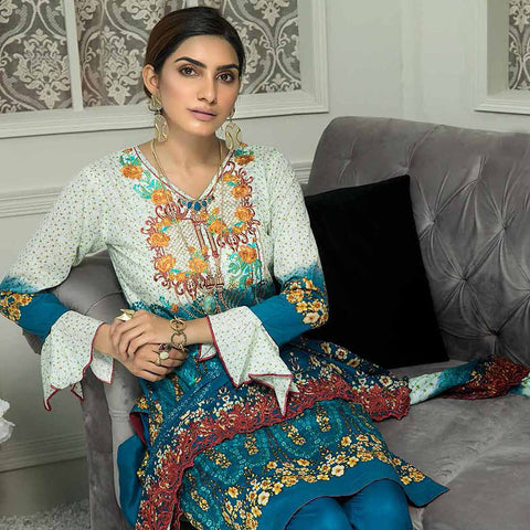 Zebtan Embroidered Cotton 3 Pieces Un-Stitched Suit Vol 01 - 08