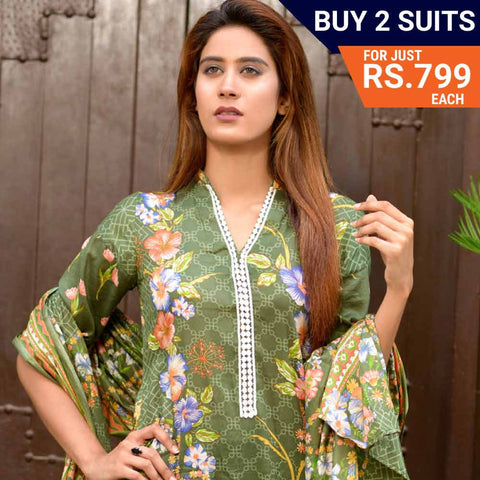 Three Star Printed Lawn Suit Vol 6 - 8 B - test-store-for-chase-value
