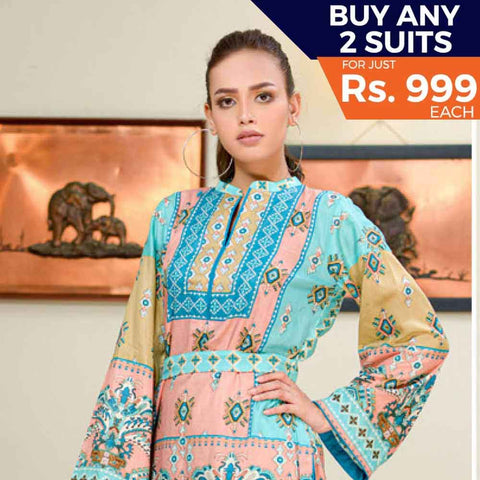 Three Star Printed Cotton 3 Piece Un-Stitched Suit - 8A