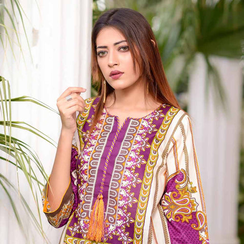 Riwaj Printed Lawn 3 Piece Un-Stitched Suit Vol 1 - 8 B