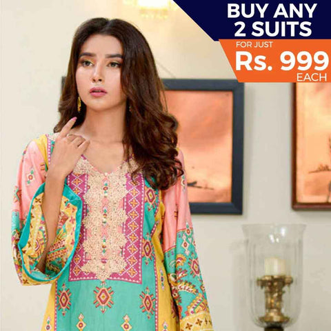 Three Star Printed Cotton 3 Piece Un-Stitched Suit - 8B