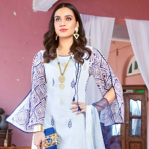 Malkah Embroidered Lawn 3 Piece Un-Stitched Suit - 09