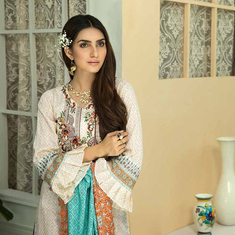 Zebtan Embroidered Cotton 3 Pieces Un-Stitched Suit Vol 01 - 09