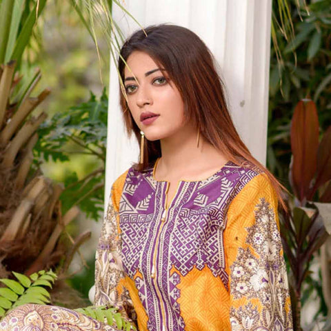 Riwaj Printed Lawn 3 Piece Un-Stitched Suit Vol 1 - 9 B