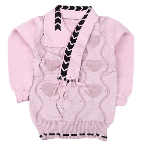 Girls Full Sleeves Sweater - Tea Pink