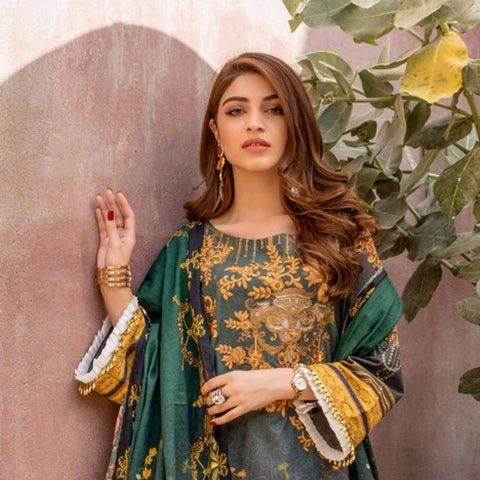Regalia Digital Printed Embroidered Lawn 3 Piece Un-Stitched Suit Vol 2 - 1