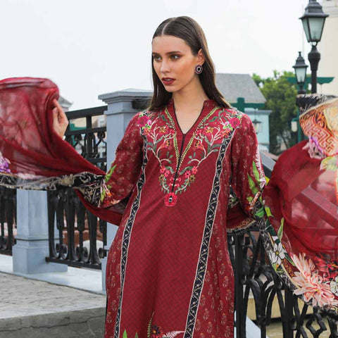 Salina Digital Printed Cotton Satin 3 Piece Un-Stitched Suit - 01