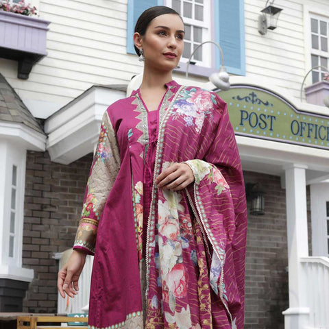 Digital Printed Cotton Satin 3 Piece Un-Stitched Suit - 01