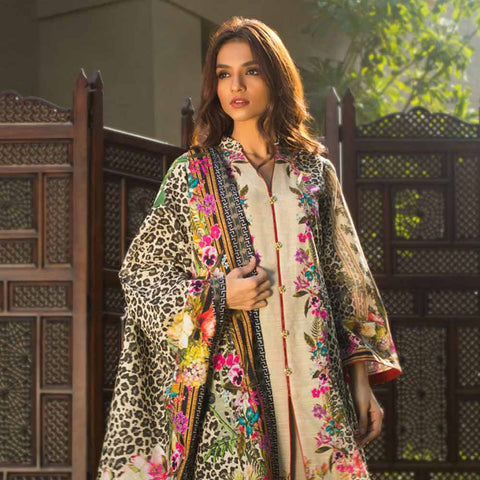 Digital Printed Khaddar 3 Piece Un-Stitched Suit - 01