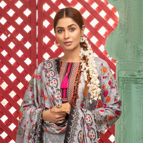 Sahil Printed Lawn 3 Piece Un-Stitched Suit Vol 1 - 1A