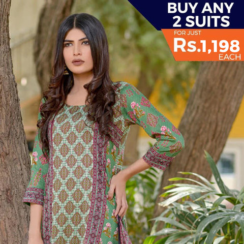 Three Star Printed Lawn 3 Piece Un-Stitched Suit Vol 2 - 3 B