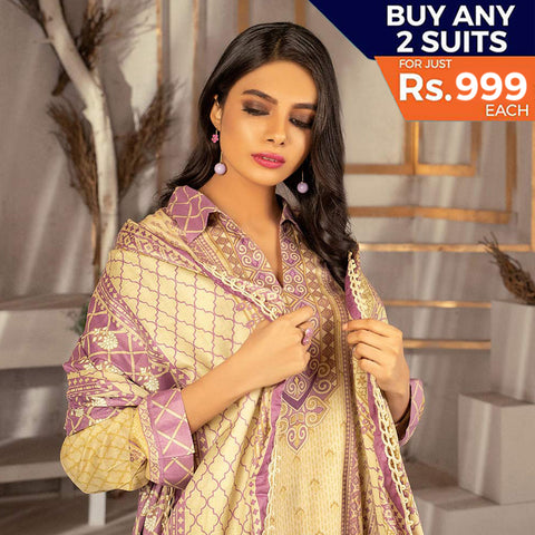 Rangreza Printed Lawn 3 Piece Un-Stitched Suit Vol 1 - 10