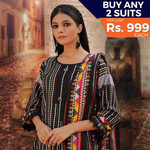 Rangreza Printed Cotton 3 Piece Un-Stitched Suit - 10