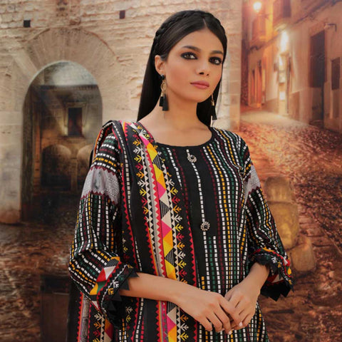 Sahil Black & White Printed Lawn Un-Stitched Suit 10