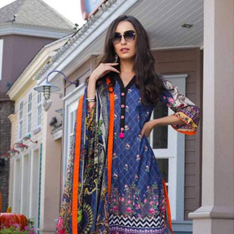 Salina Digital Printed Cotton Satin 3 Piece Un-Stitched Suit - 10