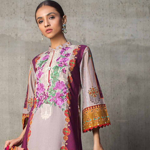 Regalia Digital Printed Embroidered Lawn 3 Piece Un-Stitched Suit - 10