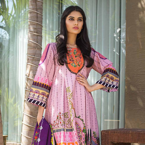 Digital Printed Khaddar 3 Piece Un-Stitched Suit - 10