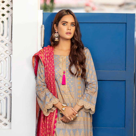 Banarsi Gold Printed Cotton 3 Piece Un-Stitched Suit Vol 2 - 10