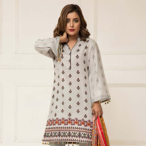 Signature Icon Printed Lawn 3 Piece Un-Stitched Suit Vol 01 - 10 A