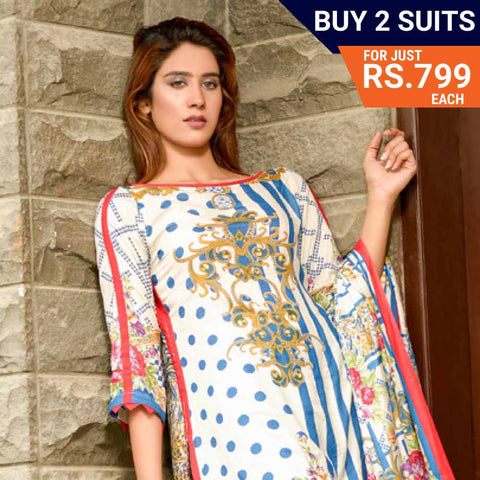 Three Star Printed Lawn Suit Vol 6 - 10 B - test-store-for-chase-value