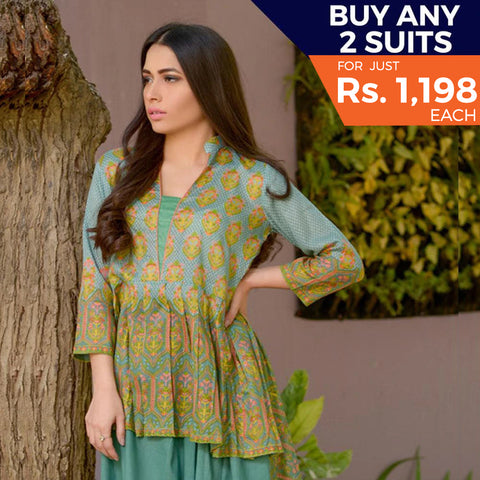 Three Star Printed Lawn 3 Piece Un-Stitched Suit Vol 2 - 1 A