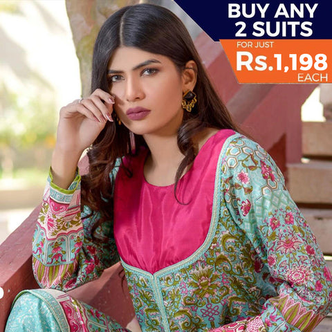 Three Star Printed Lawn 3 Piece Un-Stitched Suit Vol 2 - 9 B