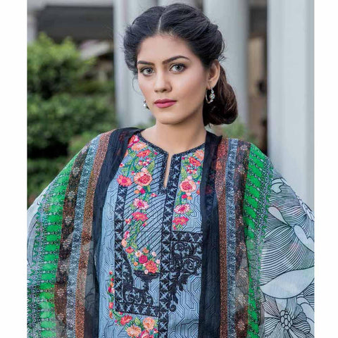 Hajra Rashid Embroidered Lawn 3 Piece Un-Stitched Suit Vol 3 - A 1017