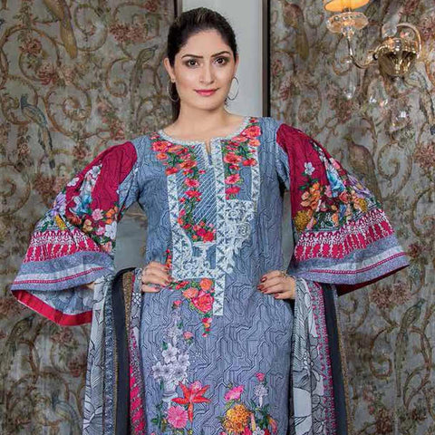Hajra Rashid Embroidered Lawn 3 Piece Un-Stitched Suit Vol 3 - B 1017