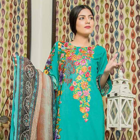 Hajra Rashid Embroidered Lawn 3 Piece Un-Stitched Suit Vol 3 - A 1018