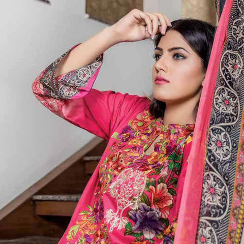 Hajra Rashid Embroidered Lawn 3 Piece Un-Stitched Suit Vol 3 - B 1018