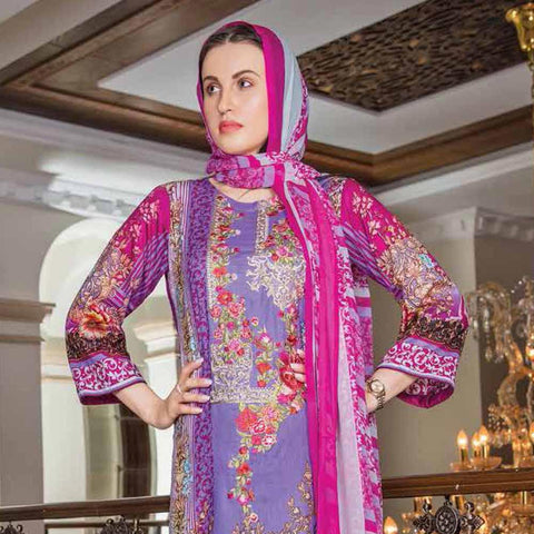 Hajra Rashid Embroidered Lawn 3 Piece Un-Stitched Suit Vol 3 - A 1019