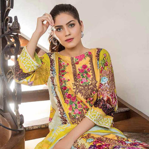 Hajra Rashid Embroidered Lawn 3 Piece Un-Stitched Suit Vol 3 - B 1019