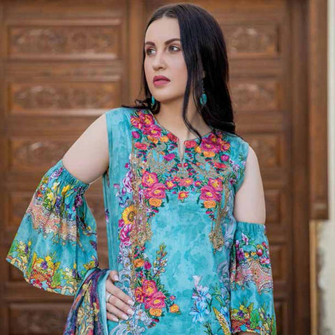 Hajra Rashid Embroidered Lawn 3 Piece Un-Stitched Suit Vol 3 - A 1020