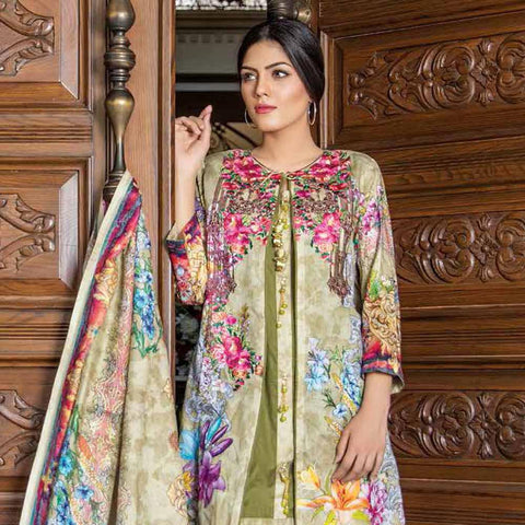 Hajra Rashid Embroidered Lawn 3 Piece Un-Stitched Suit Vol 3 - B 1020