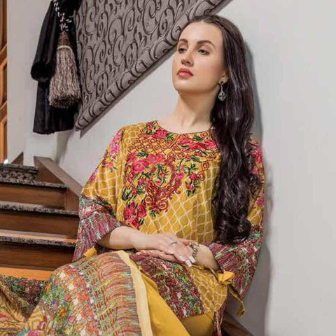 Hajra Rashid Embroidered Lawn 3 Piece Un-Stitched Suit Vol 3 - A 1021
