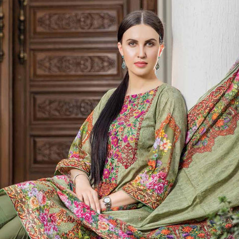 Hajra Rashid Embroidered Lawn 3 Piece Un-Stitched Suit Vol 3 - A 1022