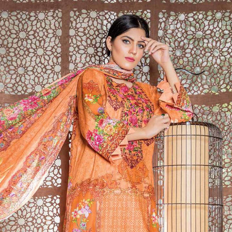 Hajra Rashid Embroidered Lawn 3 Piece Un-Stitched Suit Vol 3 - B 1022
