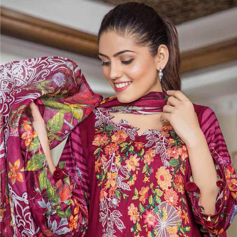 Hajra Rashid Embroidered Lawn 3 Piece Un-Stitched Suit Vol 3 - A 1023