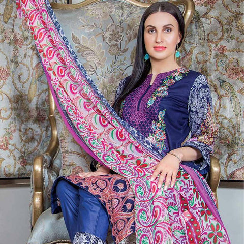 Hajra Rashid Embroidered Lawn 3 Piece Un-Stitched Suit Vol 3 - A 1024