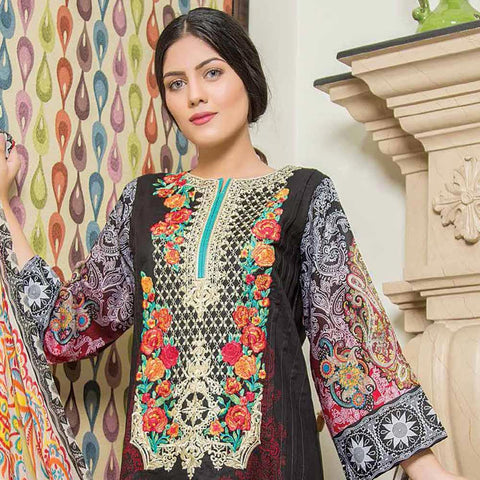 Hajra Rashid Embroidered Lawn 3 Piece Un-Stitched Suit Vol 3 - B 1024